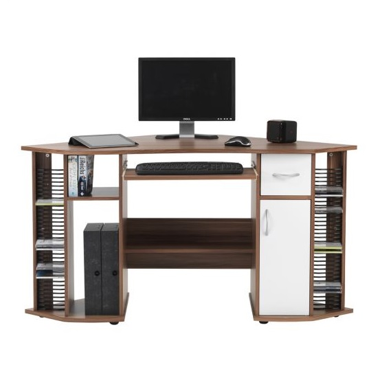 Croft Wooden Corner Computer Desk In Walnut And White_1