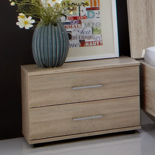 Davos Wooden Bedside Cabinet In Oak With 2 Drawers