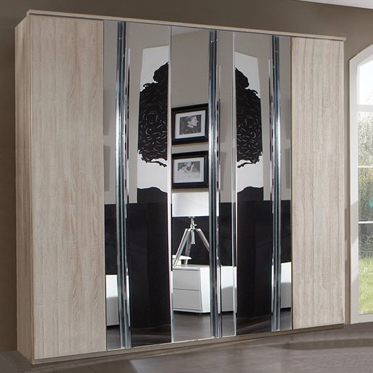 Davos Wooden Wardrobe In Oak With 3 Mirrors