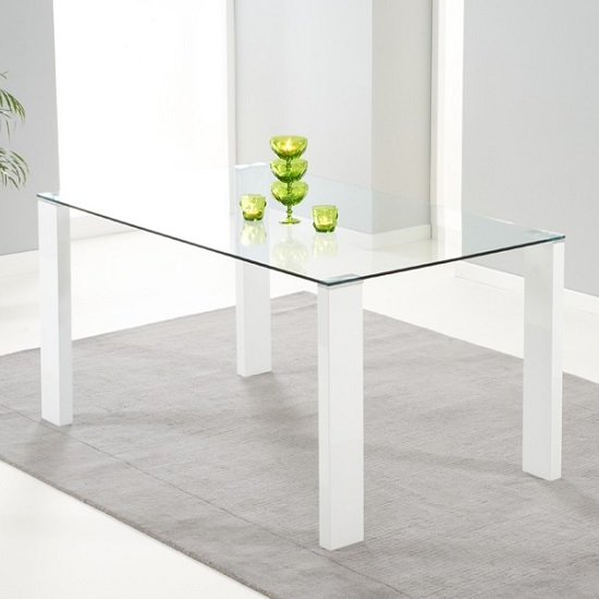 Davos Glass Dining Table In Clear With High Gloss White
