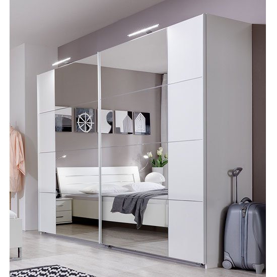 davos sliding robe wardrobe in alpine white with lights - White Wardrobe