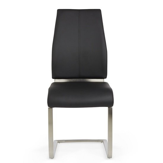 Dawlish Dining Chair In Black Faux Leather In A Pair_2