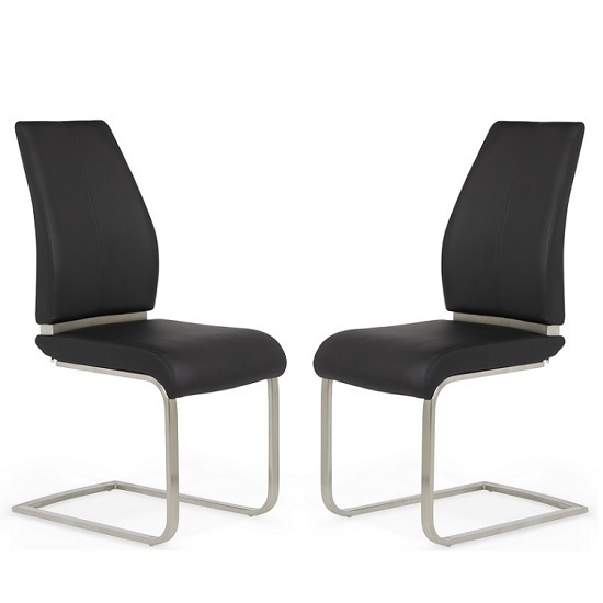 Dawlish Dining Chair In Black Faux Leather In A Pair_1