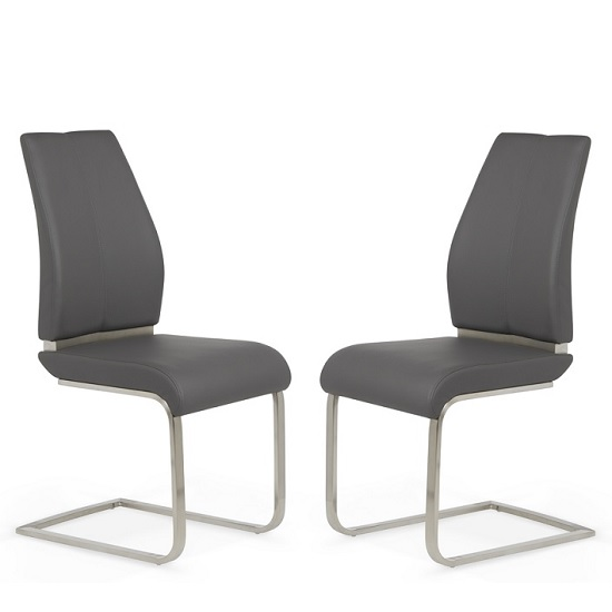 Dawlish Dining Chair In Grey Faux Leather In A Pair_1