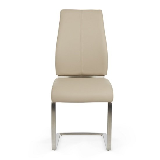 Dawlish Dining Chair In Taupe Faux Leather In A Pair_2