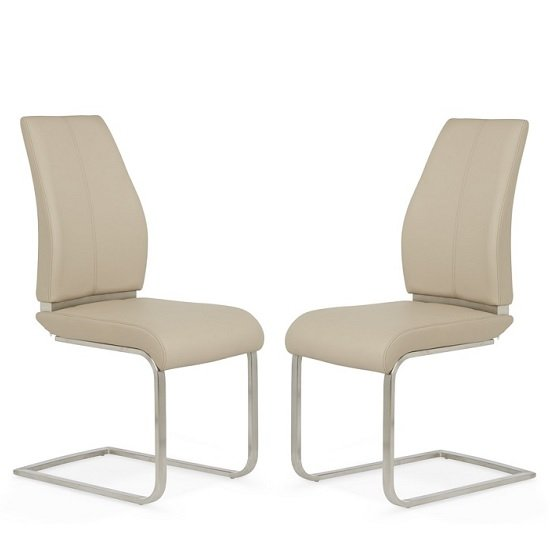 Dawlish Dining Chair In Taupe Faux Leather In A Pair 30979