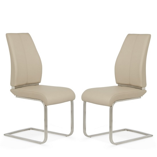 Dawlish Dining Chair In Taupe Faux Leather In A Pair_1