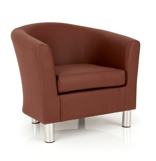 Dawlish Faux Leather Brown Tub Chair With Metal Leg