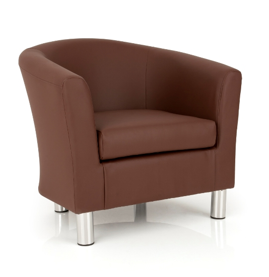 Dawlish Tub Chair In Brown Faux Leather With Metal Legs