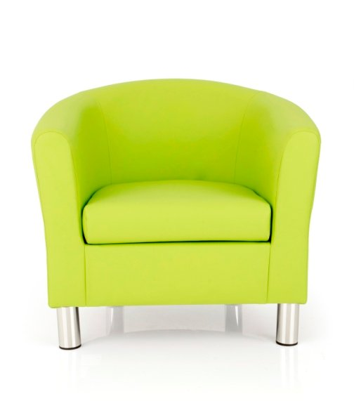 Dawlish Faux Leather Lime Tub Chair With Metal Leg