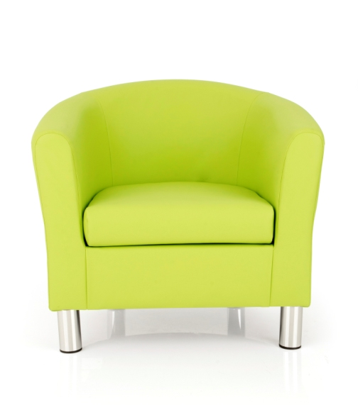 Dawlish Tub Chair In Lime Faux Leather With Metal Legs