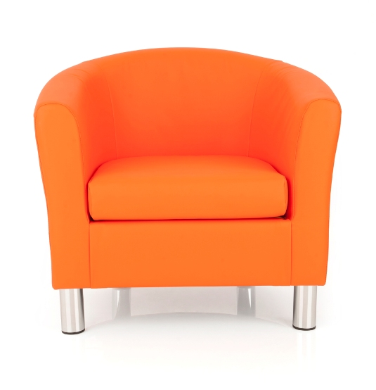 Dawlish Faux Leather Orange Tub Chair With Metal Leg