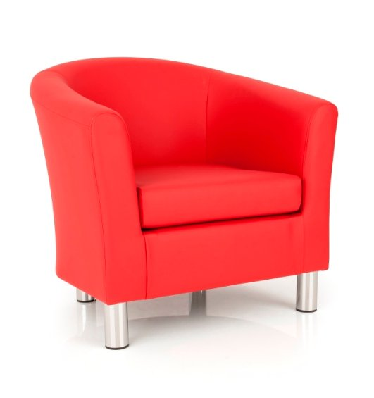 Dawlish Tub Chair In Red Faux Leather With Metal Legs
