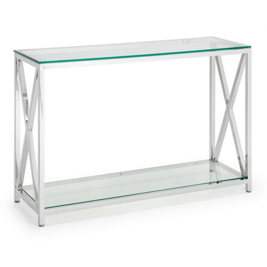 Dawn Glass Console Table With Chrome Stainless Steel Frame_2