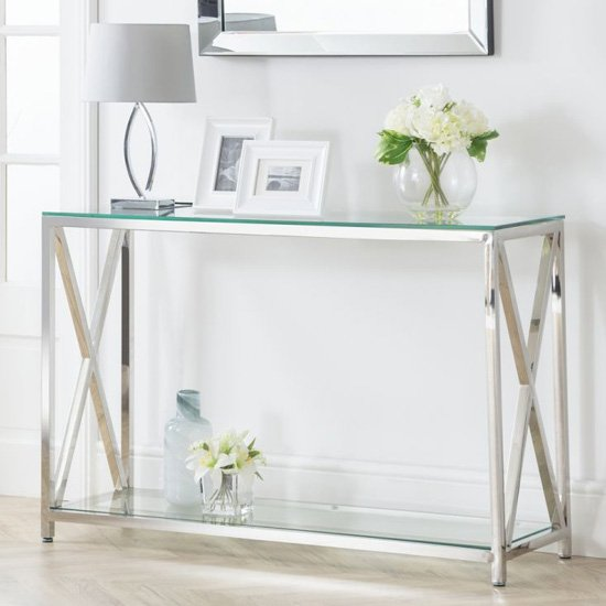 Dawn Glass Console Table With Chrome Stainless Steel Frame