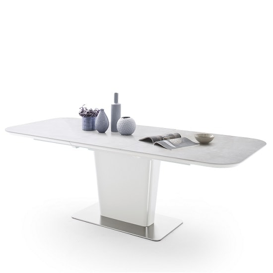 Dawson Ceramic Marble Effect Extendable Dining Table In Grey