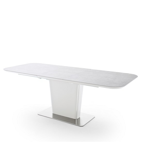 Dawson Ceramic Marble Effect Extendable Large Dining Table Grey_2