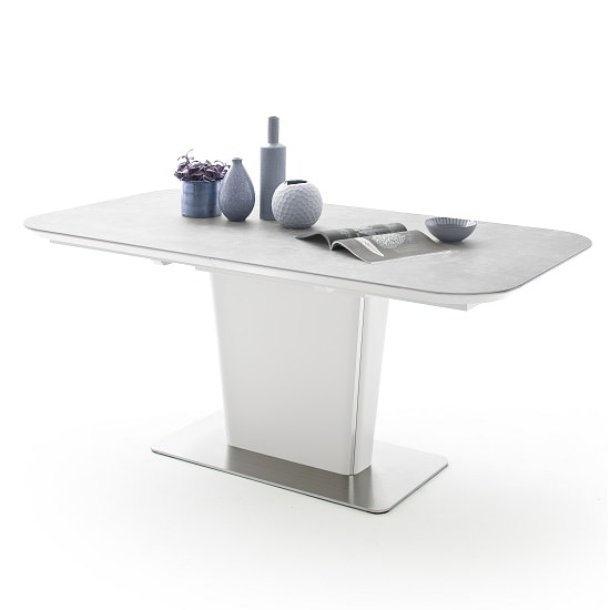 Dawson Ceramic Marble Effect Extendable Large Dining Table Grey_4