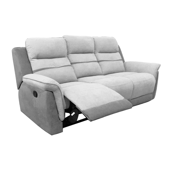 Dawson Fabric Recliner 3 Seater Sofa In Grey