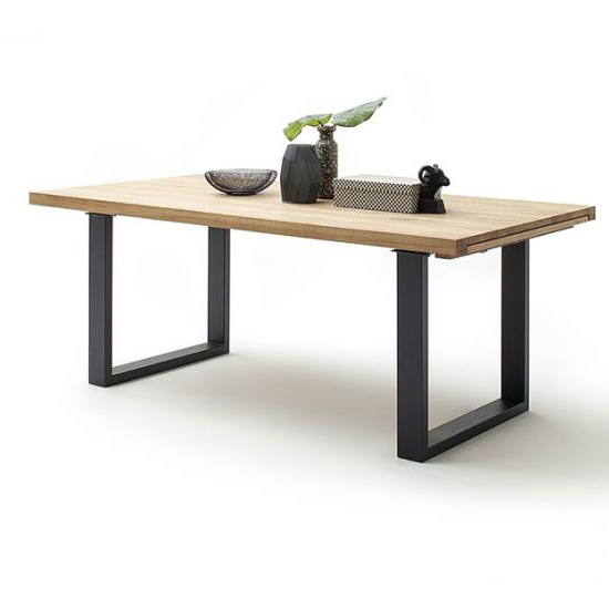Product photograph showing Dayton Extending Bianco Oak Dining Table With Anthracite Legs