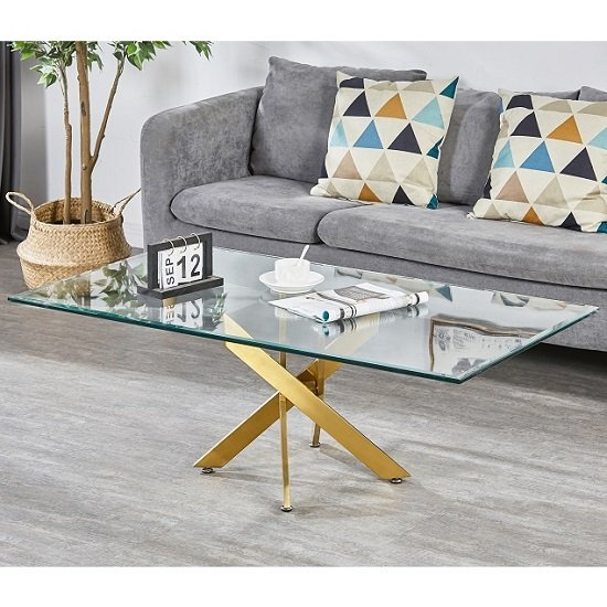 Daytona Clear Glass Coffee Table With Brushed Gold Legs_1