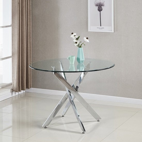 View Daytona dining table round in clear glass with chrome legs