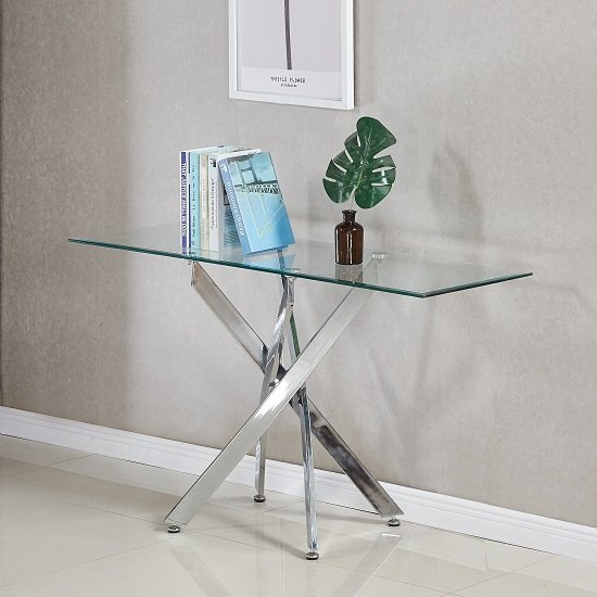 Daytona Glass Console Table Rectangular In Clear And Chrome Legs