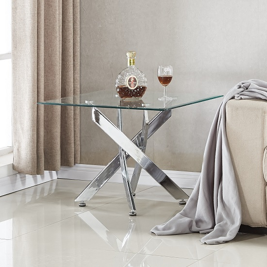 Daytona Glass Lamp Table Square In Clear With Chrome Legs