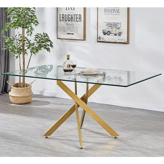 Daytona Clear Glass Large Dining Table With Brushed Gold Base