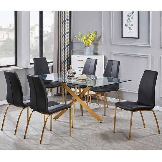 Daytona Clear Glass Large Dining Table With Six Opal Black Chair
