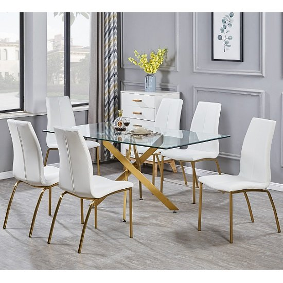 Daytona Clear Glass Large Dining Table With Six Opal White Chair_1