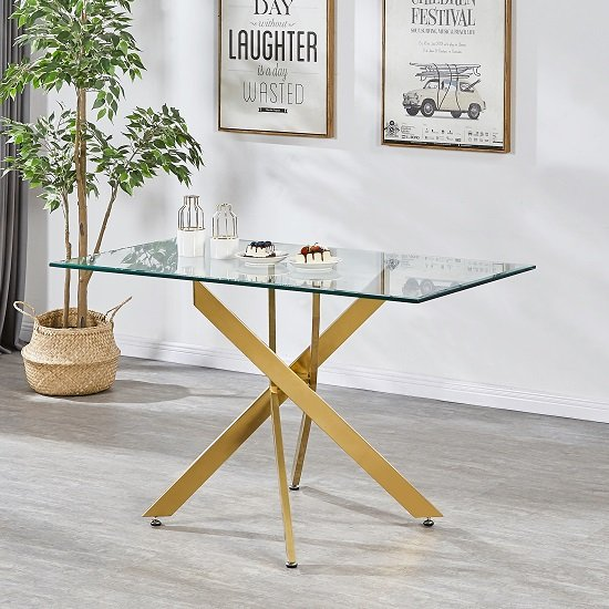 View Daytona clear glass small dining table with brushed gold base