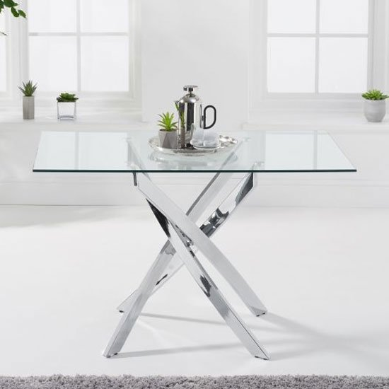 Daytona Rectangular Glass Dining Table In Clear With Chrome Legs
