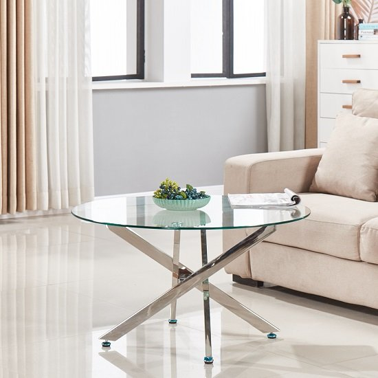 Daytona Round Clear Glass Coffee Table With Chrome Legs