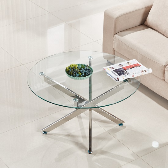 Daytona Round Clear Glass Coffee Table With Chrome Legs - Round glass coffee table with chrome legs