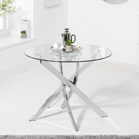 View Daytona round glass dining table in clear with chrome legs
