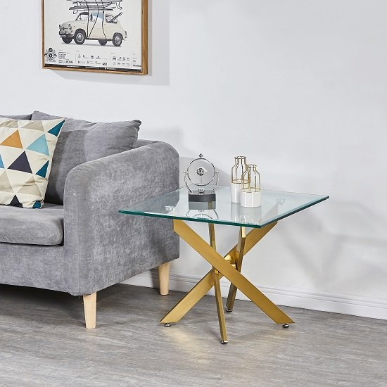 Daytona Square Clear Glass Lamp Table With Brushed Gold Legs