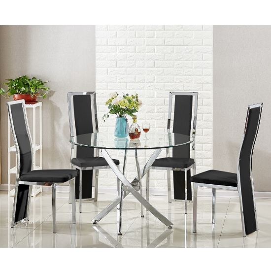 Daytona Round Glass Dining Table With 4 Collete Black Chairs