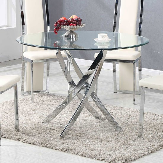 Daytona Dining Table Round In Clear Glass With Chrome Legs