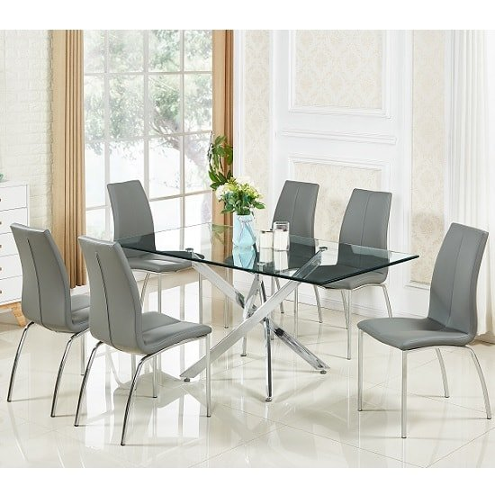Daytona Glass Dining Table In Clear With 6 Opal Grey Chairs