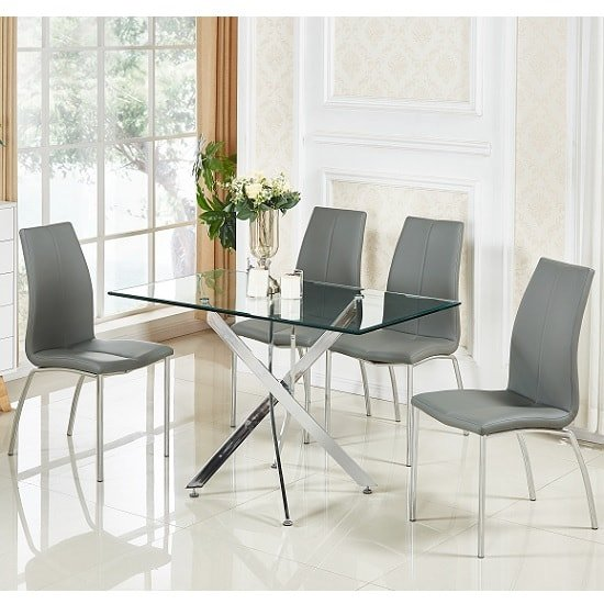 Daytona Small Glass Dining Table With 4 Opal Grey Chairs