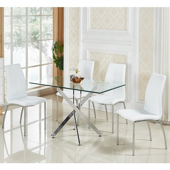 Daytona small glass dining table with 4 opal white chairs for Small 4 seater dining table