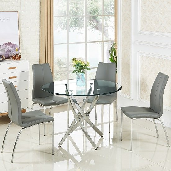 Daytona Round Gl Dining Table With 4 Opal Grey Chairs