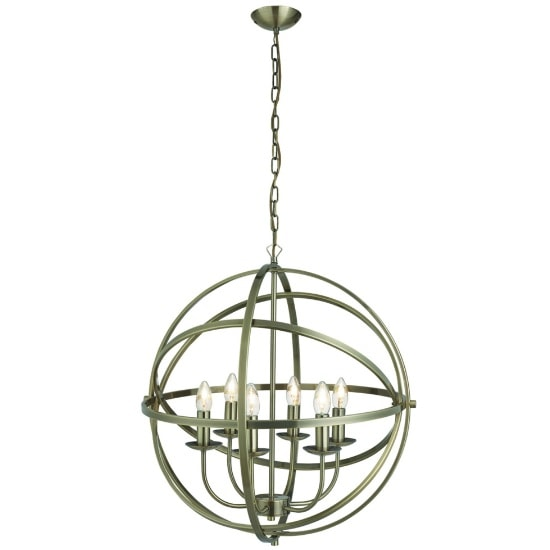 Dea Spherical Pendant Light In Antique Brass With 6 Lights_1