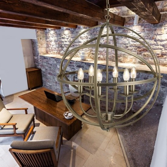 Dea Spherical Pendant Light In Antique Brass With 6 Lights_2