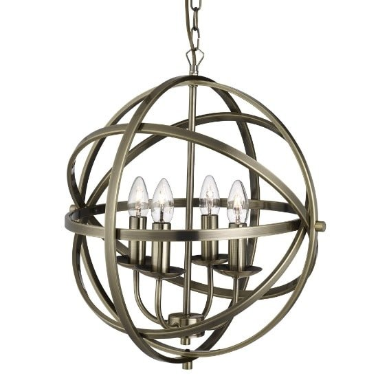 Dea Spherical Pendant Light In Antique Brass With 4 Lights