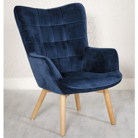 Dean Velvet Upholstered Lounge Chair In Blue