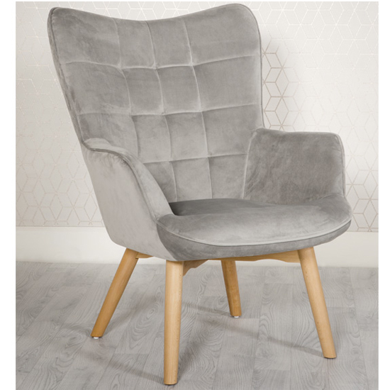 Dean Velvet Upholstered Lounge Chair In Grey