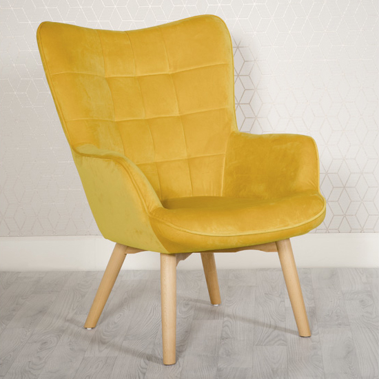 Dempo Velvet Upholstered Lounge Chair In Ochre