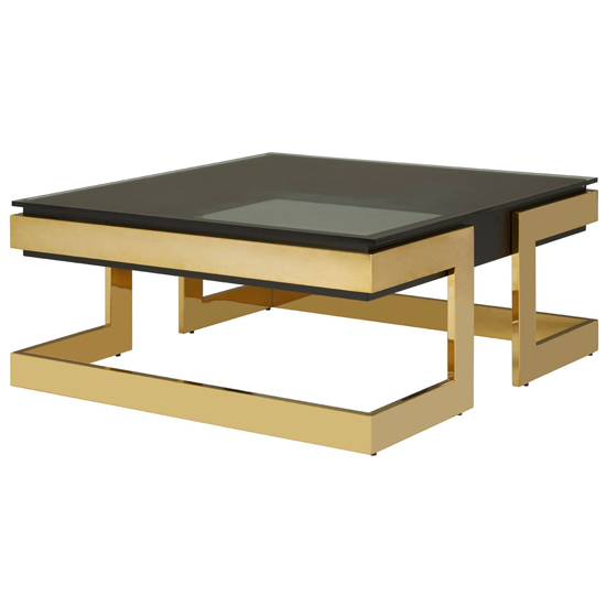 Bibha Black Glass Coffee Table With Gold Base    _2
